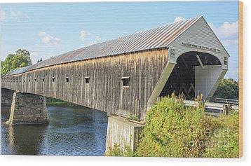 Cornish-windsor Covered Bridge Wood Print by Edward Fielding