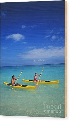 Couple Paddling Wood Print by Kyle Rothenborg - Printscapes