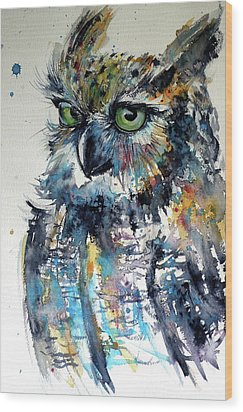 Wood Print featuring the painting Cute Owl by Kovacs Anna Brigitta