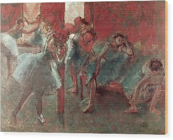Dancers At Rehearsal Wood Print by Edgar Degas