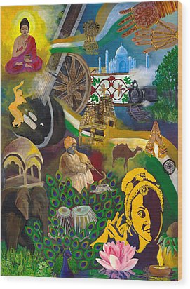 Discover India Wood Print