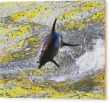 Dolphin Wood Print by John Collins