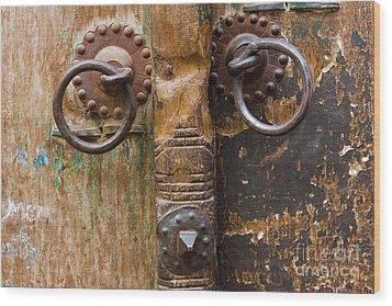 Door Knob Wood Print by Juan  Silva