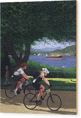 East Van Bike Ride Wood Print by Neil Woodward