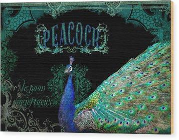 Elegant Peacock W Vintage Scrolls  Wood Print by Audrey Jeanne Roberts