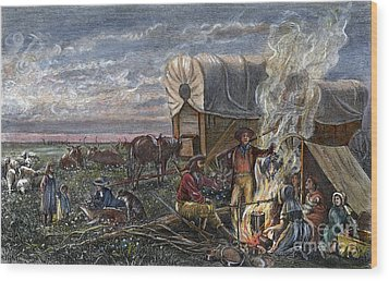 Emigrants To The West Wood Print by Granger