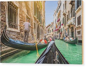 Exploring Venice Wood Print