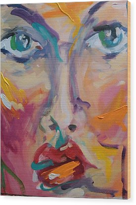 Face Wood Print by Heather Roddy