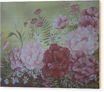 Wood Print featuring the painting Family Flowers by Leslie Manley