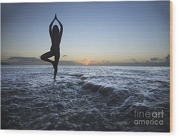 Female Doing Yoga At Sunset Wood Print by Brandon Tabiolo - Printscapes