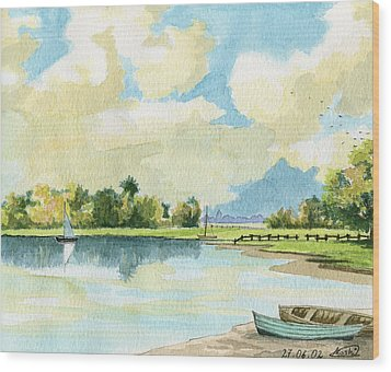 Fishing Lake Wood Print