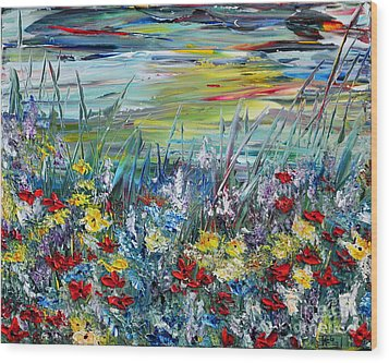 Wood Print featuring the painting Flower Field by Teresa Wegrzyn