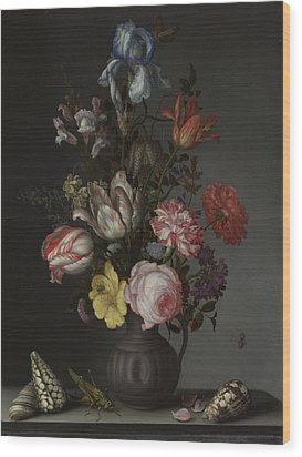 Flowers In A Vase With Shells And Insects Wood Print