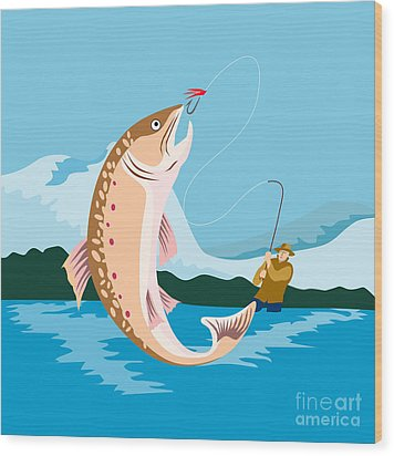 Fly Fisherman Catching Trout Wood Print by Aloysius Patrimonio