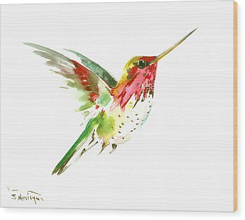 Flying Hummingbird Wood Print by Suren Nersisyan