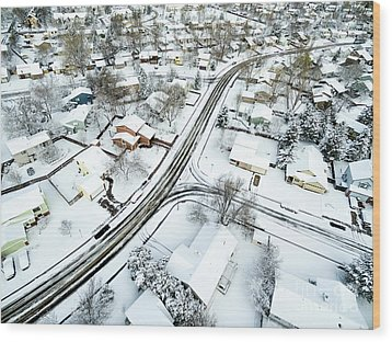 Fort Collins Winter Cityscape Wood Print