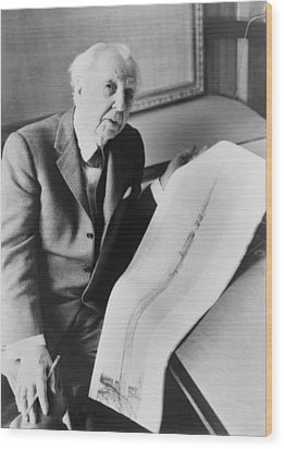 Frank Lloyd Wright 1867-1959, American Wood Print by Everett