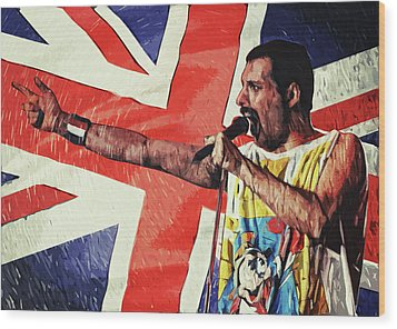 Wood Print featuring the digital art Freddie Mercury by Taylan Apukovska
