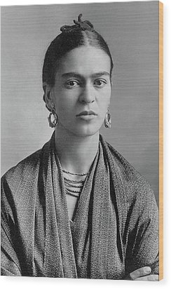Wood Print featuring the painting Frida Kahlo by Pg Reproductions