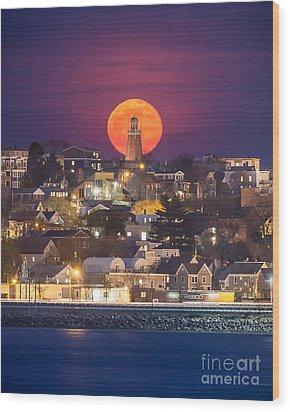 Full Moon Behind The Portland Observatory Wood Print