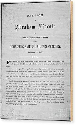 Gettysburg Address, 1863 Wood Print by Granger