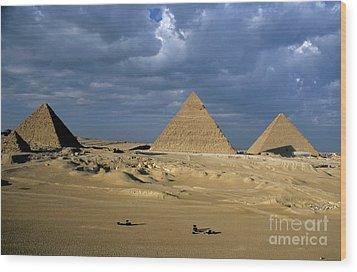 Giza Pyramids Wood Print by Sami Sarkis