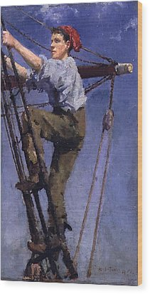 Wood Print featuring the painting Going Aloft by Henry Scott Tuke