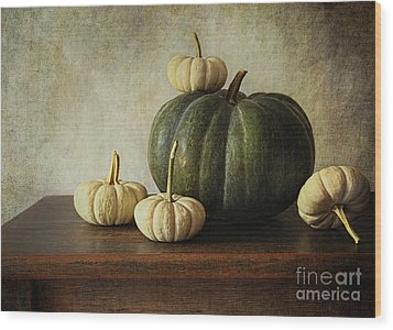 Green Pumpkin And Gourds On Table  Wood Print