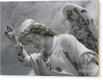 Wood Print featuring the sculpture Grieving Angel by Yurix Sardinelly