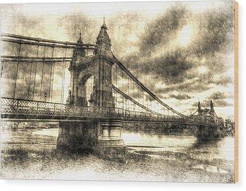 Hammersmith Bridge London Vintage Wood Print