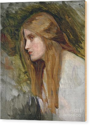 Head Of A Girl Wood Print by John William Waterhouse