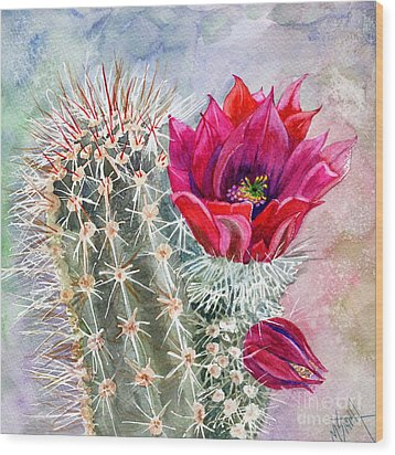 Hedgehog Cactus Wood Print