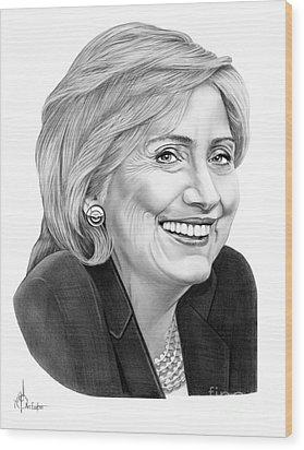 Hillary Clinton Wood Print by Murphy Elliott
