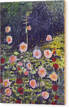 Wood Print featuring the painting Hollyhocks by Katherine Miller