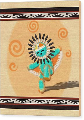 Wood Print featuring the digital art Hopi Sun Face Kachina by John Wills