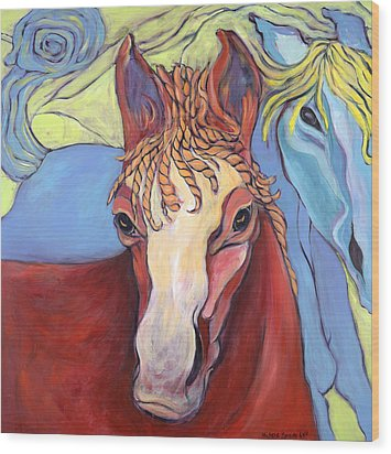2 Horses Wood Print by Michelle Spiziri
