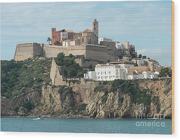 Ibiza Town And Castle Wood Print