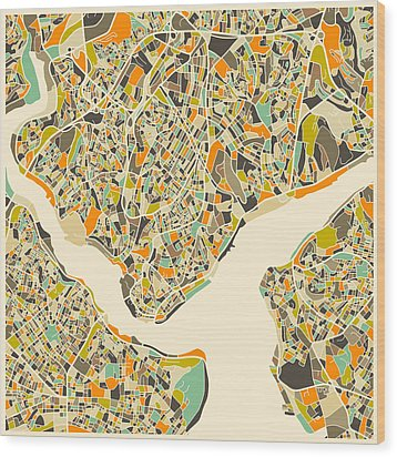 Istanbul Map Wood Print