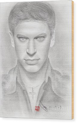 Wood Print featuring the drawing Italian Singer Patrizio Buanne by Eliza Lo
