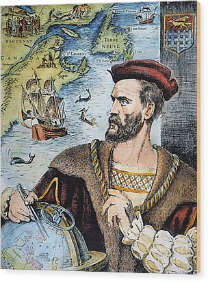 Jacques Cartier (1491-1557) Wood Print by Granger