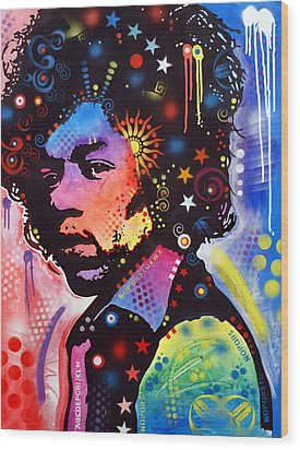 Wood Print featuring the painting Jimi Hendrix by Dean Russo