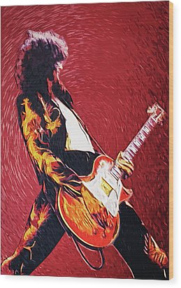 Jimmy Page  Wood Print by Taylan Apukovska