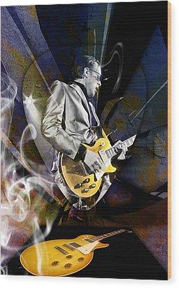 Joe Bonamassa Blue Guitarist Art Wood Print by Marvin Blaine