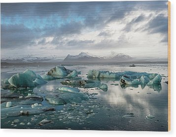 Wood Print featuring the photograph Jokulsarlon, The Glacier Lagoon, Iceland 3 by Dubi Roman