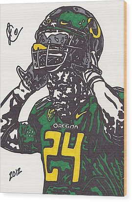 Wood Print featuring the drawing Kenjon Barner 1 by Jeremiah Colley