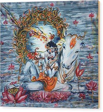 Krishna Wood Print