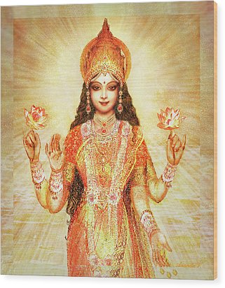 Lakshmi The Goddess Of Fortune And Abundance Wood Print