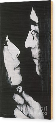 Wood Print featuring the painting Lennon And Yoko by Ashley Price