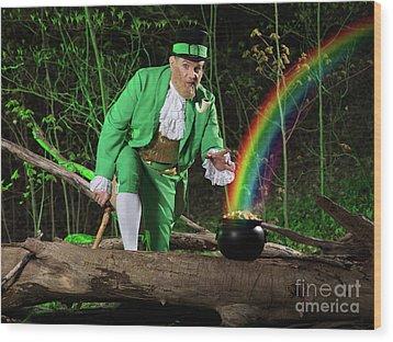 Leprechaun With Pot Of Gold Wood Print by Oleksiy Maksymenko