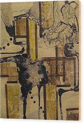 2 Level Painting Wood Print by Evguenia Men